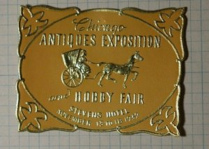 Chicago Antiques Expo & Hobby Fair 1939 Embossed Foil Philatelic Souveir Label