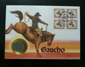 Uruguay Horse Riding 1992 Animal Cowboy Sport Games FDC (coin cover)