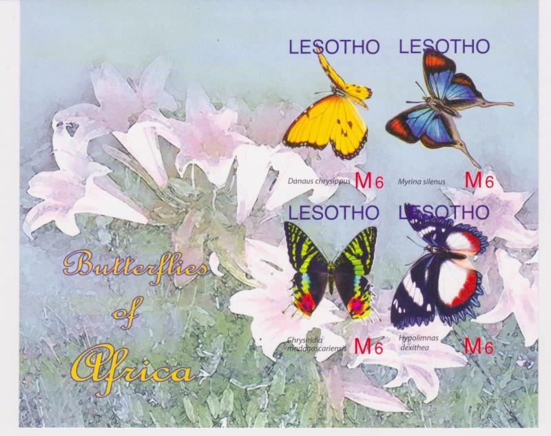 Lesotho - Butterflies, 2007 - Sc 1411 Sheetlet of 4 MNH - IMPERFORATE