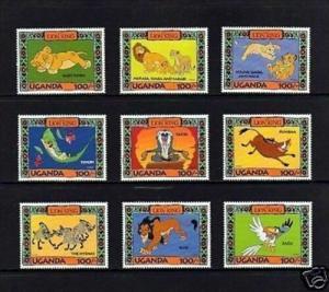 UGANDA - 1994 - DISNEY - THE LION KING - # 1 - MINT - MNH SET OF 9!