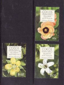 Cocos (Keeling) Is.-Sc#354b,355-used 3/4 set- Flowers-2010-