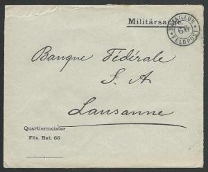 SWITZERLAND 1914 Military cover to Lausanne - Battaillon 66................58383