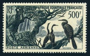 French Equatorial Africa C37,lightly hinged.Michel 290. 1953.Birds Anhingas.