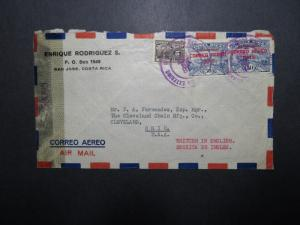 Costa Rica 1945 Censored Airmail Cover to Ohio - Z11998