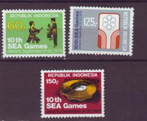J21091 Jlstamps 1979 indonesia mh set #1056-8 sports