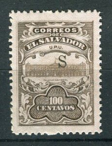 SALVADOR; 1915-16 Unissued Remainders ' S ' Optd fine Mint hinged 100c. value