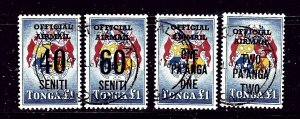 Tonga CO15-18 Used 1968 surcharges