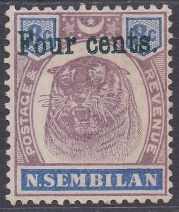 NEGRI SEMBILAN 1898 TIGER 4C ON 8C GREEN OVERPRINT