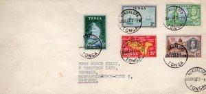 Tonga 1957 Sc#100/104 Pictorials Postal History Cover send to England