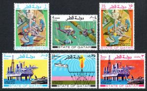 Qatar 311-316, MNH. Oil from the sea.Pipe line, Drilling, Searching for oil,1972