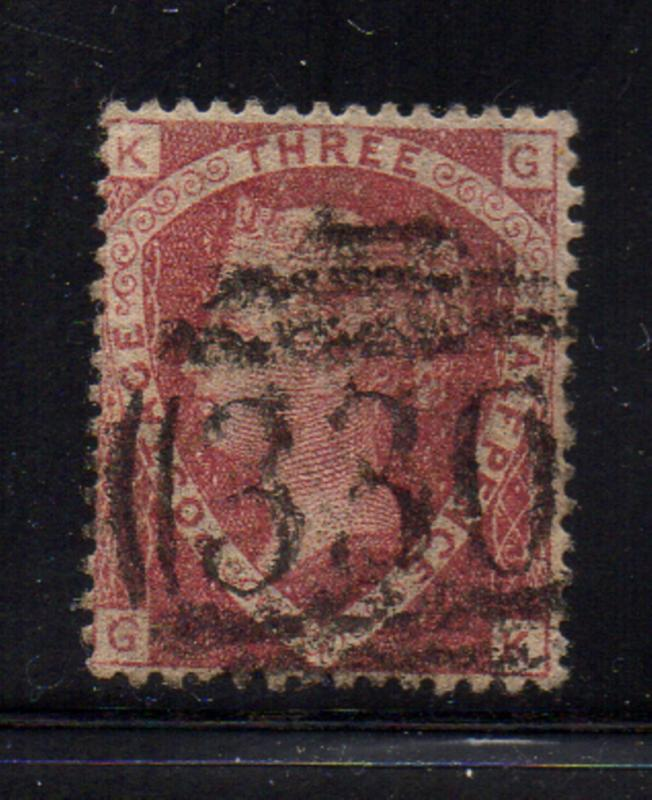 Great Britain Sc 32 1870 1 1/2d dull rosen Victoria stamp used
