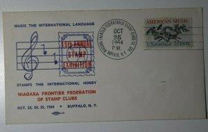 Niagara Frontier Federation Stamp Club American Music Buffalo NY 1964 Cover