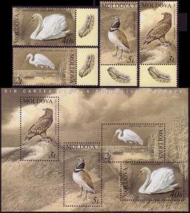 Moldova Swan Eagle Bustard Egret Birds 4v+MS SG#477-MS481 MI#481-484+Block 30