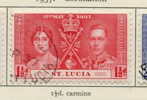 St Lucia 1937 GVI Early Issue Fine Used 1.5d. NW-154968