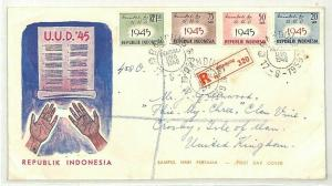 INDONESIA FDC First Day Cover Registered Bandung GB Crosby 1945 {samwells} CG270