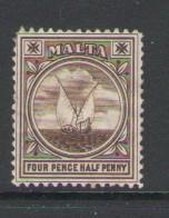 Malta Sc 15 1899 4 1/2d Fishing Boat stamp mint