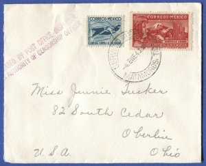 1942 WWII Scarce US Censor marking on cover from MATAMOROS, MEXICO to USA