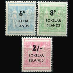 TOKELAU 1966 - Scott# 6-8 N.Z.Stamps Opt. Set of 3 NH