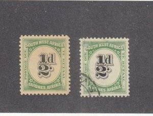 SOUTH WEST AFRICA # J86 VF-MLH AND USED 1/2d POSTAGE DUES CAT VALUE $10.50