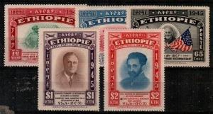 Ethiopia Scott 278-80,C21-2 Mint hinged (Catalog Value $50.00)