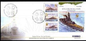 URUGUAY 2009 GERMAN NAVY SHIP GRAF SPEE MILITARIA S/SHEET YV BL89 FDC