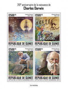 Guinea Charles Darwin Stamps 2019 MNH Famous People Science Birds Turtles 4v M/S