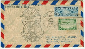 1937 Foreign TRANS PACIFIC First Flight FAM 14-12 GUAM To HONG KONG C7 + C21