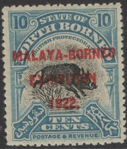 NORTH BORNEO SG263 1922 10c BLACK & TURQUOISE-BLUE MNH