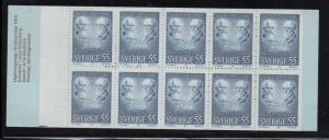 Sweden Sc 882a 1970 Nobel Prize stamp bklt of 10 mint NH