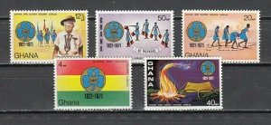 Ghana, Scott cat. 421-425. Girl Guides, 50th Anniversary. Light Hinged.