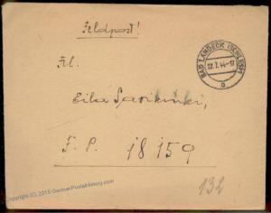 3rd Reich WWII Front-Front Lappland Army Feldpost Cover to Rovaniemi Finla 60440