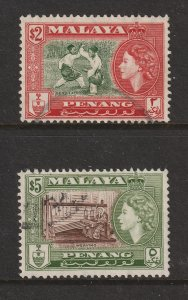 Penang the used $2 & $5 from the 1957 set