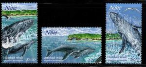 Niue Scott 695-697 MNH** Whale stamps
