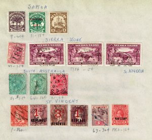 SAMOA, SA, SL STAMP USED AND MINT STAMPS ON PAGE COLLECTION LOT