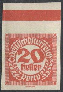 AUSTRIA 1920  20h Imperf Postage Due Sc J96, MNH  w/margin marking