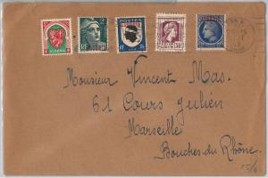 French colonies: ALGERIA -  POSTAL HISTORY - COVER to FRANCE 1948