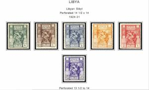 COLOR PRINTED ITALIAN LIBYA 1912-1942 STAMP ALBUM PAGES (24 illustrated pages)