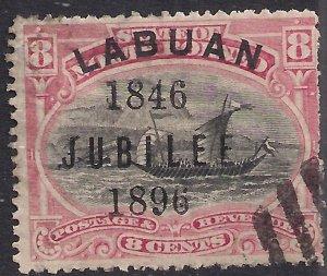 Labuan North Borneo 1896  QV 8ct Black & Pink used SG 88b ( J334 )