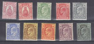 TURKS & CAICOS ISLANDS , 1909 KEVII set of 10 to 1s., lhm.