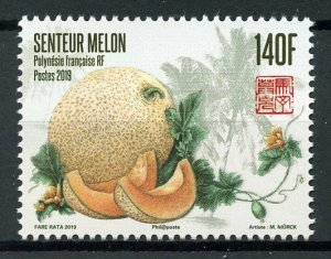 French Polynesia 2019 MNH Melons Melon 1v Set Fruits Nature Scented Stamps