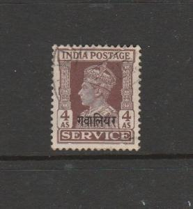India Gwalior official 1940/2 4As Used SG O88
