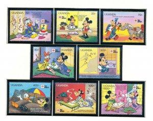 UGANDA - Scott 888-897 -  VFMNH - DISNEY Mickey, JAPAN - 2 scans - 1991