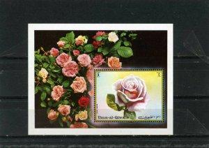 UMM AL QIWAIN 1972 Mi#Bl.56 FLOWERS ROSES S/S MNH