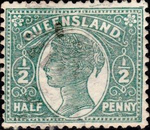 AUSTRALIA / QUEENSLAND 1895 - SG208 1/2d green p.12-1/2 - Very Fine Used