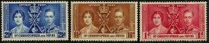 St Christopher & Nevis  1937 , Coronation MNH # 76-78