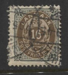 Denmark - Scott 47 - Definitive Issue -1895 - Used - Single 16s Stamp