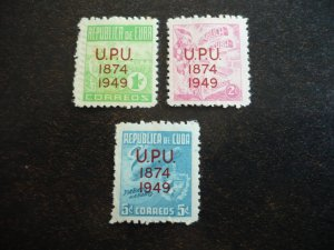 Stamps - Cuba - Scott#449-451 - Mint Hinged Set of 3 Stamps - Overprinted UPU