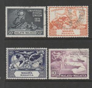 Malaya Malacca 1949 UPU FU SG 18/21