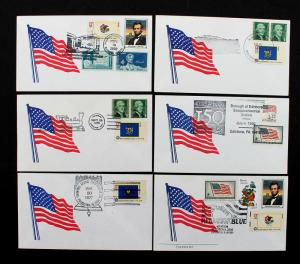 US Patriotic Cover Lot of 6 Flag Covers with Large Fancy Cancels