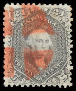 momen: US Stamps #70 Used Red Cork Cancel